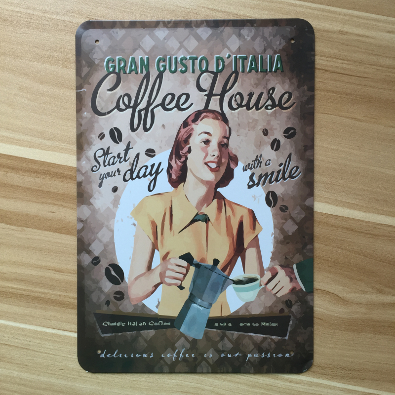 Metal Tin Sign gran gusto coffee house  Bar Pub Home Vintage Retro Poster Cafe