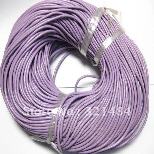 Лидер продаж! 3 мм 100 метра#16 светло-фиолетовый цвет(больше цвета можно подобрать) ювелирные изделия реального Guniune круглый кожаный шнур веревка и строка