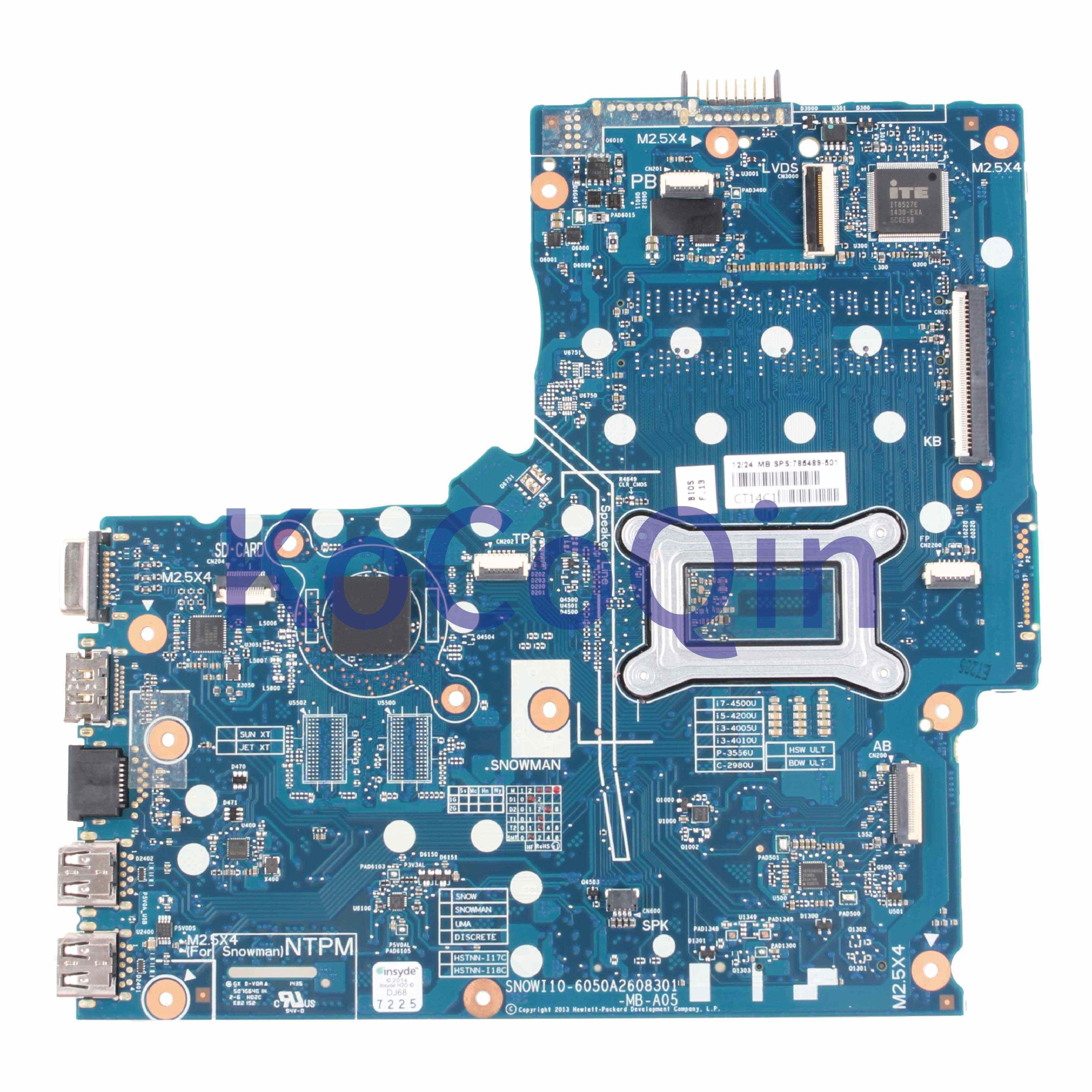 KoCoQin האם מחשב נייד עבור HP 350 G1 G2 Core I5-4200U Mainboard 785495-001 785495-601 6050A2608301 SR1EF