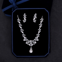 Fashion Wedding Bridal Jewelry Sets Simulated Pearls Pendant Necklace AAA Cubic Zirconia Flower Drop Earrings Women Bijoux Gifts