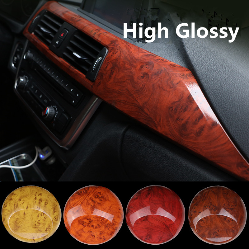 High Glossy Car Interior Wood Textured Grain Vinyl Wrap