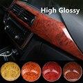 High Glossy Car Interior Wood Textured Grain Vinyl Wrap Sticker Decals 0.3x1.24m