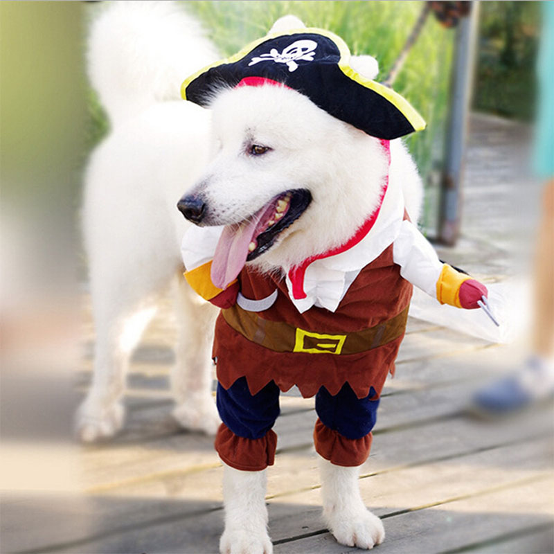 Funny Cat Costume Pirate Suit Cat Clothes Corsair Costume di Halloween Puppy Clothes Suit Dress Up Party Abbigliamento per Cat 25S1