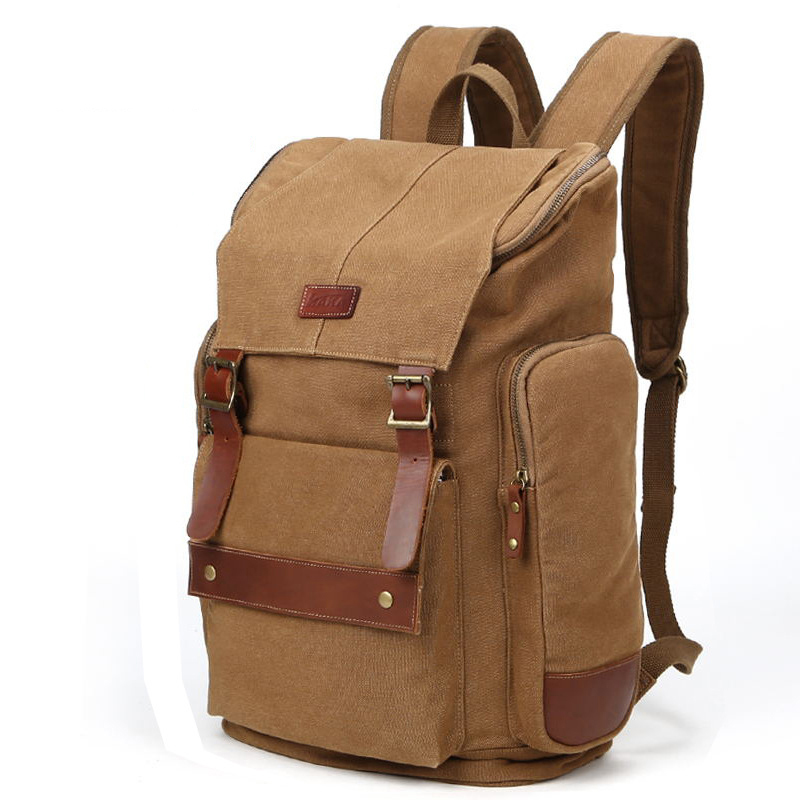ФОТО New Brand Fashion Vintage Canvas Backpacks for Men Laptop Backpack Women Retro Travel Bags Large Capacity Versatile Bag Bag