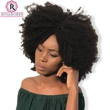 Монгольский афро кудрявый вьющиеся волосы ткань 4B 4C натуральный Цвет Remy Человеческие волосы Связки цельнокроеное платье Rosa Queen Hair продукты