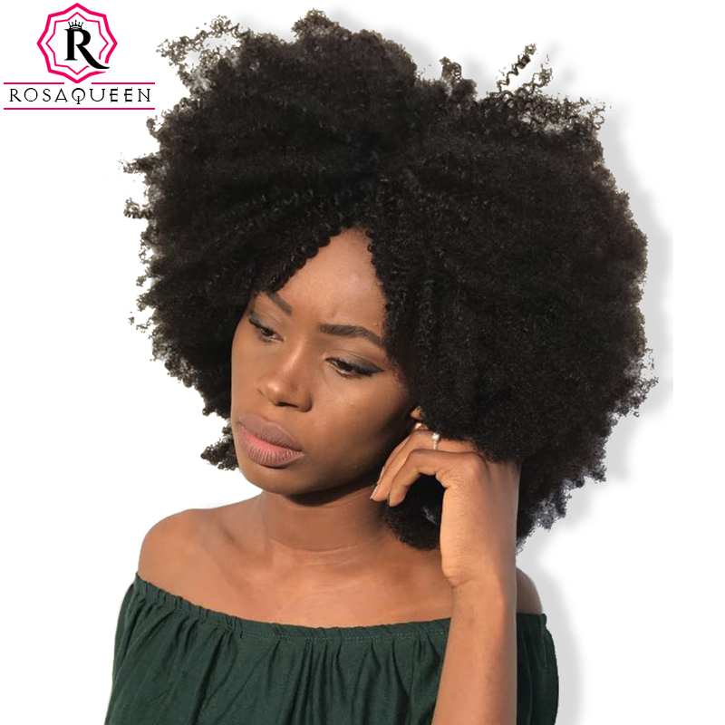 Mongolian Afro Kinky Curly Hair Weave 4B 4C Natural Color Remy Human Hair Bundles 1 Piece Rosa Queen Hair Products