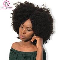 Mongolischen Afro Verworrenes Lockiges Haarwebart 4B 4C 100% Natürliche menschliches Haar Bundles 1 Stück Remy Haarverlängerungen Rosa Königin-haarpflege produkte