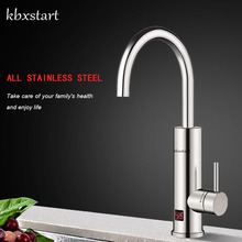 Kbxstart Kitchen Electric Water Heater Faucet Stainless Steel Housing Tap Instant Tankless Calentador De Agua Electrico With LED kbxstart kitchen electric water heater faucet stainless steel housing tap instant tankless calentador de agua electrico with led