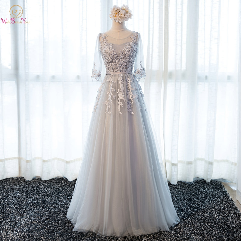 Gray Prom Dresses 2019 Pink Lace Appliques Pearl Belt Tulle A Line Three Quarter Sleeves Long