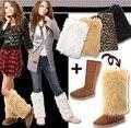 Moda Aquecedores do Pé da Pele Do Falso das mulheres Inverno Quente 40 cm leg warmer Ankle Botas Sapatos Capa Cuff Furry Macio