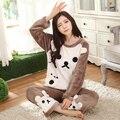 Mulheres Pijama 2016 pijama de lã de coral espessamento das mulheres mais tamanhos biscoitos leisurewear terno parágrafo quente de flanela grossa