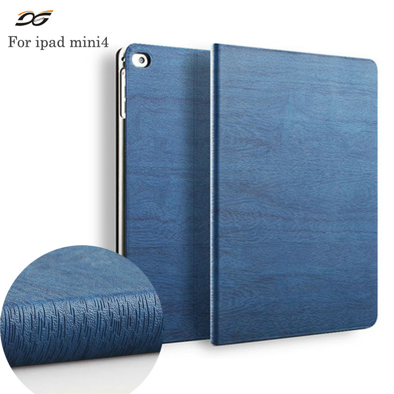 For iPad mini 4 Case Wooden PU Leather Ultra Slim Light Stand Smart Cover Protective Case for iPad mini 4(2015 Release)