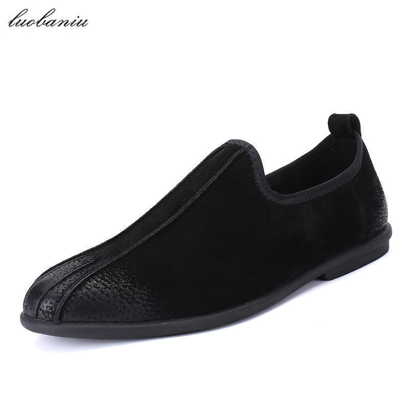 Cow Suede Men Shoes Casual Breathable Moccasins Men Loafers Slip On High Quality British Style branded men s penny loafes casual men s full grain leather emboss crocodile boat shoes slip on breathable moccasin driving shoes