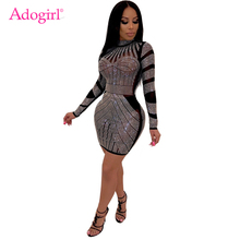 Adogirl Diamonds Sheer Mesh Bodycon Club Dress Mock Neck Long Sleeve Sheath Mini Performance Party Dresses Women Fashion Outfits adogirl tie dye print women casual dress o neck short sleeve bodycon sheer mini t shirt dresses female night club party outfits