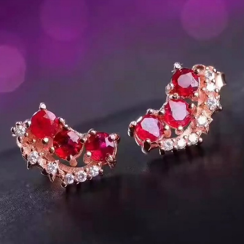 natural ruby stud earrings 925 silver Natural red gemstone stud earring for women personality fashion party jewelry