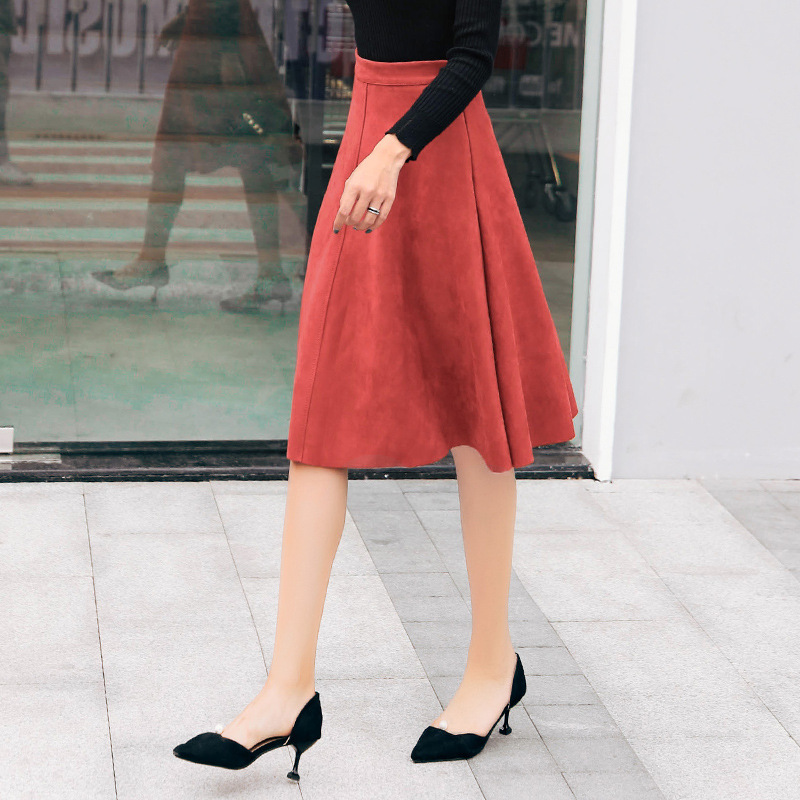614a218f61 Yuxinfeng Autumn Winter Faux Suede Skirt Women Slim Casual A Line Leather  Skirts Female Knee-Length Skirt Jupe Green Khaki | Herbert Edwin