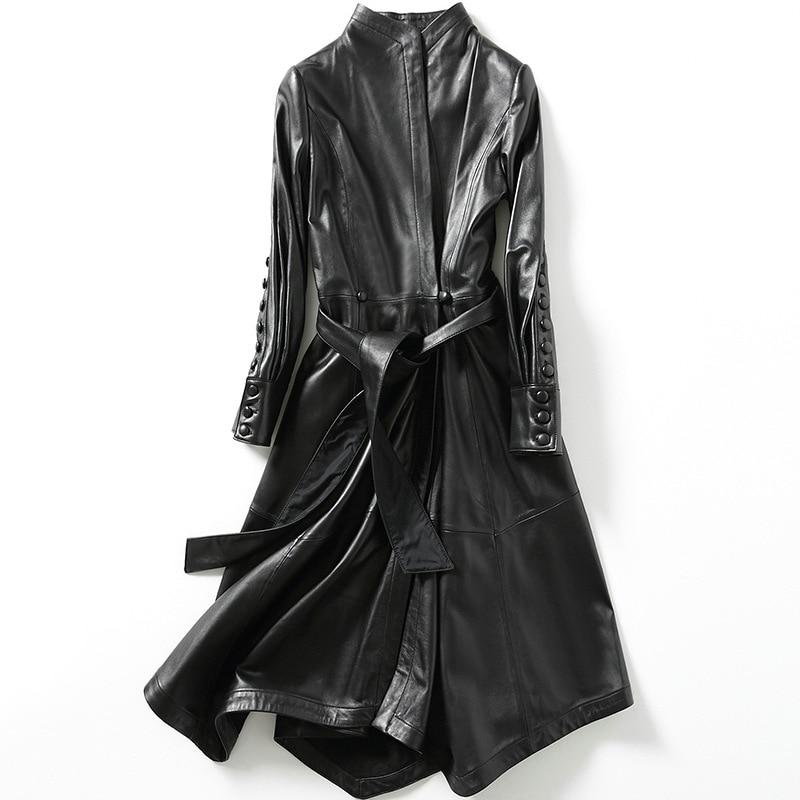 YOLANFAIRY 100% Geniune Veste En Cuir en peau de Mouton En Cuir tranchée manteaux pour femmes Printemps Automne Vestes Jaqueta de couro MF093