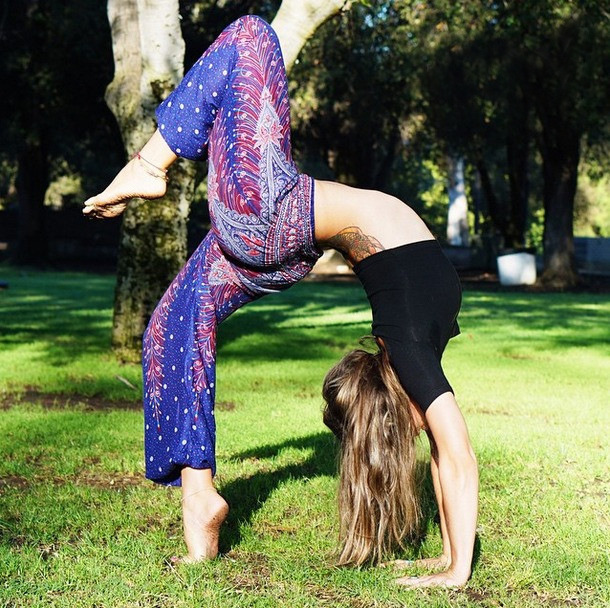 Women Purple Blue Belly Dance Yoga Long Trousers Summer