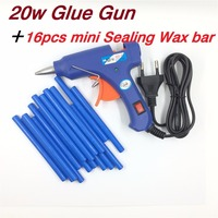 Mini 20w Melt Glue Gun Plus 16pcs Mini Sealing Wax Stick 100 240V Professional High Temp