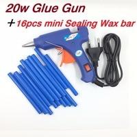 Mini 20w Melt Glue Gun Plus 16pcs Mini Sealing Wax Stick 100 240V Professional High Temp