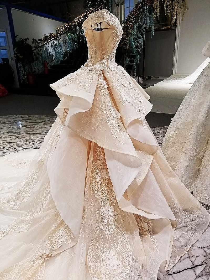 LS321003 2018 champagne hors épaule robes de mariée hors taille personnalisée deux couches jupe grande robe de mariée avec long train de chine