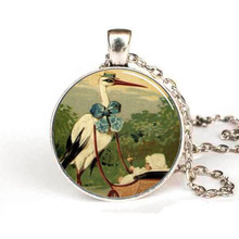 New Steampunk DIY Handmade Fine Necklace Stork and Baby Carriage Pendant Glass Dome Pendant for women jewelry gift Chain vintage