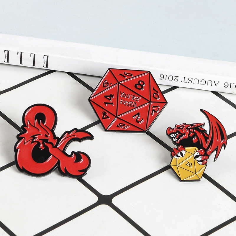 Dragon dengan Sihir Dadu Enamel Red Dragon Bahkan Bros Tombol Pins untuk Tas Pakaian Lencana Rakasa Perhiasan Hadiah untuk Teman-teman anak-anak