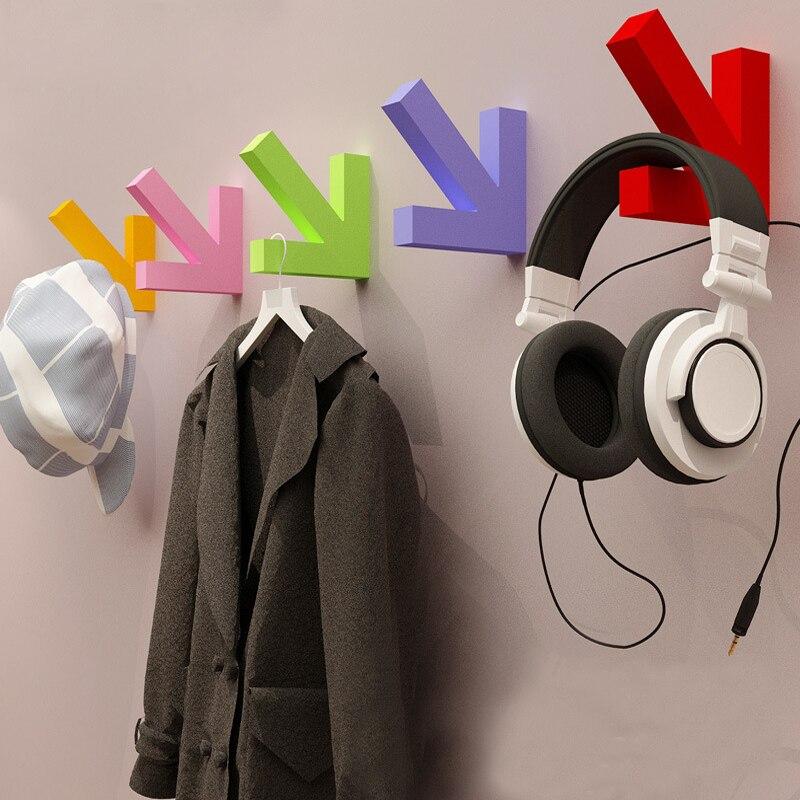 New Solid Color Arrow Towel Hanger Key Holder Over Door Wall Wood Hook For Handbag Hat Coat Kitchen Hooks
