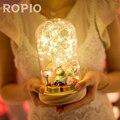 ROPIO 50/100 LED Nachtlicht USB Ladung oder Batterie Powered Feuerwerk Glas Abdeckung Holz Basis Tabelle Nacht Lampe Für Geburtstag geschenk-in LED-Nachtlichter aus Licht & Beleuchtung bei