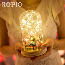 ROPIO 50/100 LED Night Light USB Charge or Battery Powered Firework Glass Cover Wood Base Table Night Lamp For Birthday Gift