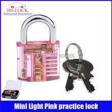 50 unids/lote Hermoso Diseño Mini Candado Herramienta de Formación Práctica Transparente Rosa Claro Práctica suministros de Cerrajería