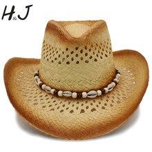 Moda mujer Sombrero de vaquero occidental con playa shell para señora paja  Playa Sol Sombrero de vaquera tamaño 58 cm a0119 d904f6281fc