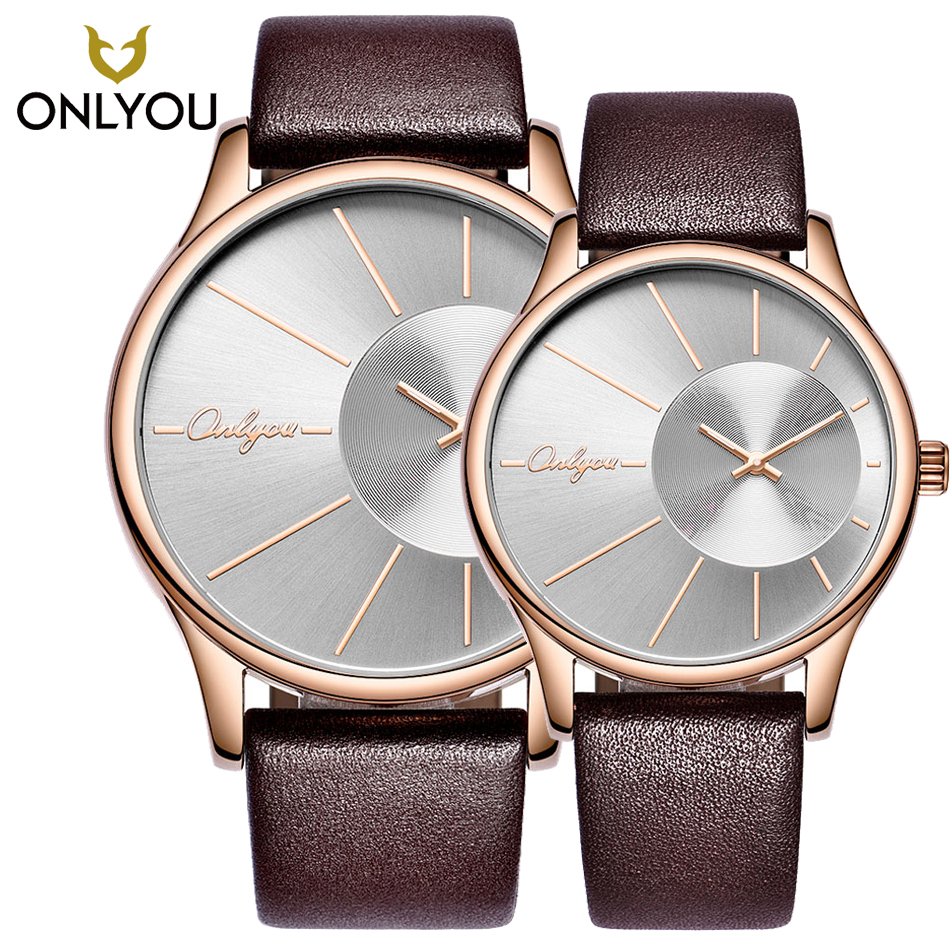 ONLYOU Simple Fashion Casual Men Watches Top Luxury Brand Leather Watchband Quartz-Watch Lovers Watch Women Wristwatch Clock new leisure retro women men lovers watch luxury brand watches quartz clock fashion leather belts watch sports wristwatch relogio