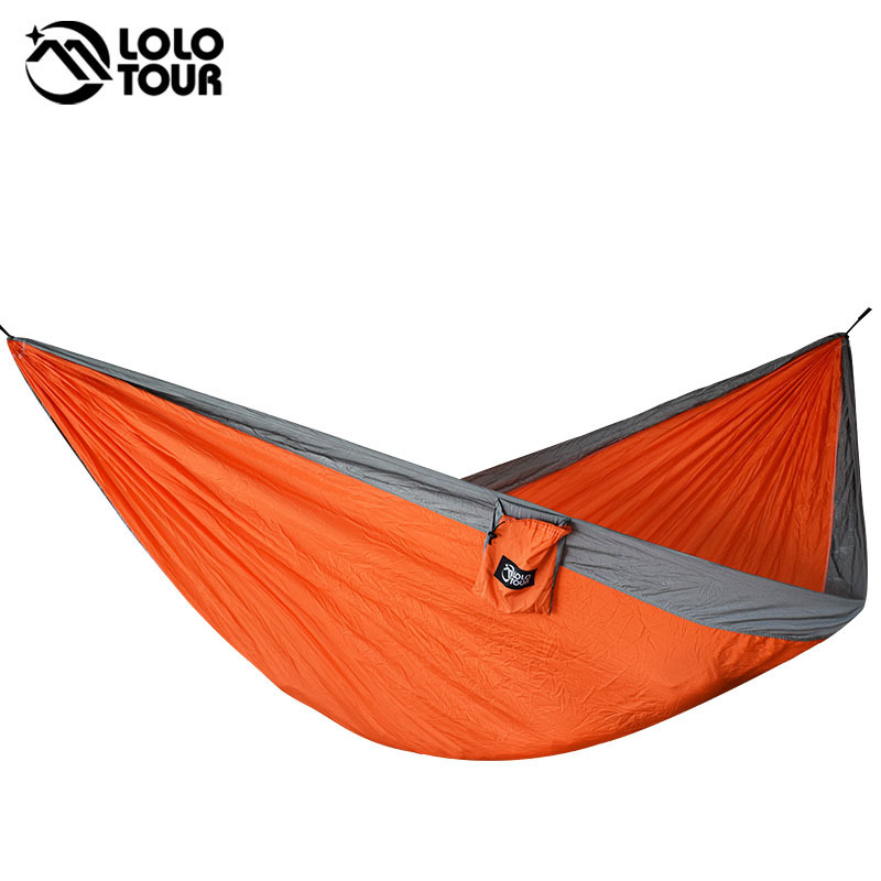 Durable 2 Persons Nylon Hammock 210T Parachute Hangmat Sleep Outdoor Camping Hamac Hanging Sleeping Bed 300*175cm thicken canvas single camping hammock outdoors durable breathable 280x80cm hammocks like parachute for traveling bushwalking