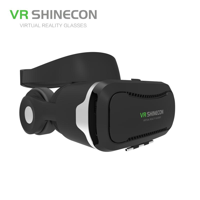 Virtual Reality 3D Glasses VR Shinecon 4.0 Headset VR BOX with Headphone StereoMicControl Button for 4.0-6.0 Smartphone