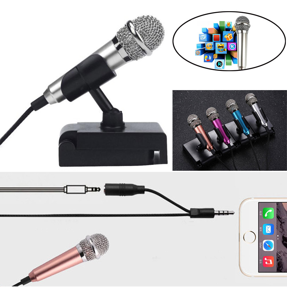 hight resolution of 3 5mm audio plug wired mini microphone portable stereo condenser mic stand for chatting singing karaoke pc iphone samsung sys in microphones from consumer