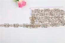 2017 flatback Bridal clear crystal rhinestone applique for wedding gown dresses rhinestone patch trim sash