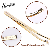 Professional Beauty Stainless Steel gold Eyelash Eyebrow Tweezers Face Hair Remover Tweezer Make Up tools direct head Or bend