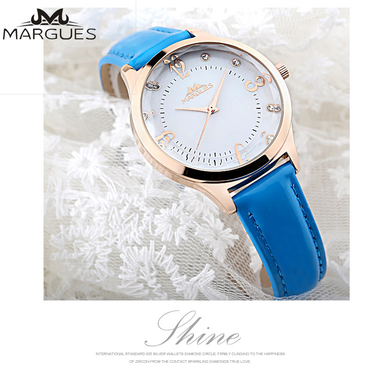 Women Watches MARGUES brand Quartz watch for lady Diamond time personality scale fashion watch casual leather strap clock 041