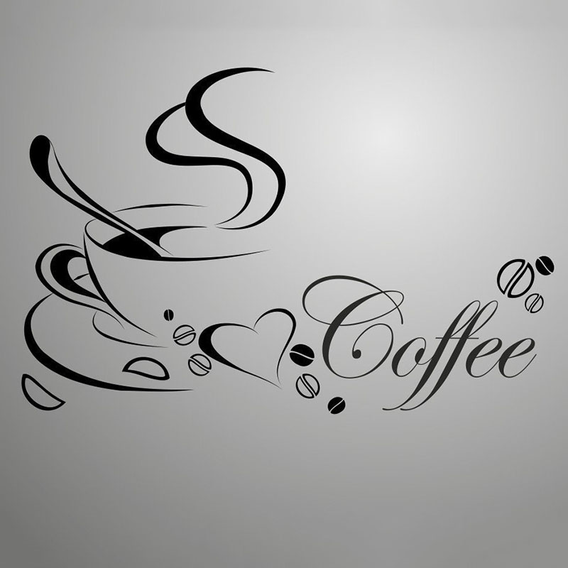 Removable Vinyl Black Coffee Wall Stickers Coffee Cup Living Rooms Bedroom Decoracion Kitchen Glass Wallpapers Shop Home Decor