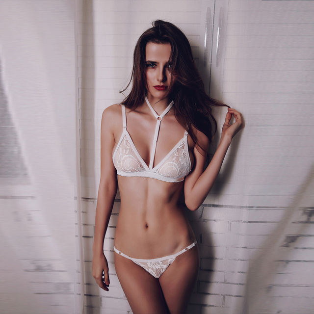 2f6d2778b21 Sexy White Black Lace Patchwork Strappy Halter Bralette Adjusted-straps  Lace Bra   Panties Set Back Closure Sexy Underwear