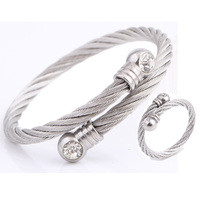 Trendy Jewelry New Fashion Stainless Steel Metal Adjustable Gold Silver Cuff Bracelet Bangle Ring Crystal Jewelry