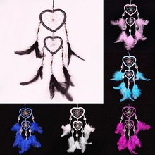 Imixlot Romantic Beautiful India Style Large Feathers Dream Catcher Double Heart Hanging Wall Home Decoration Dreamcatcher Gift