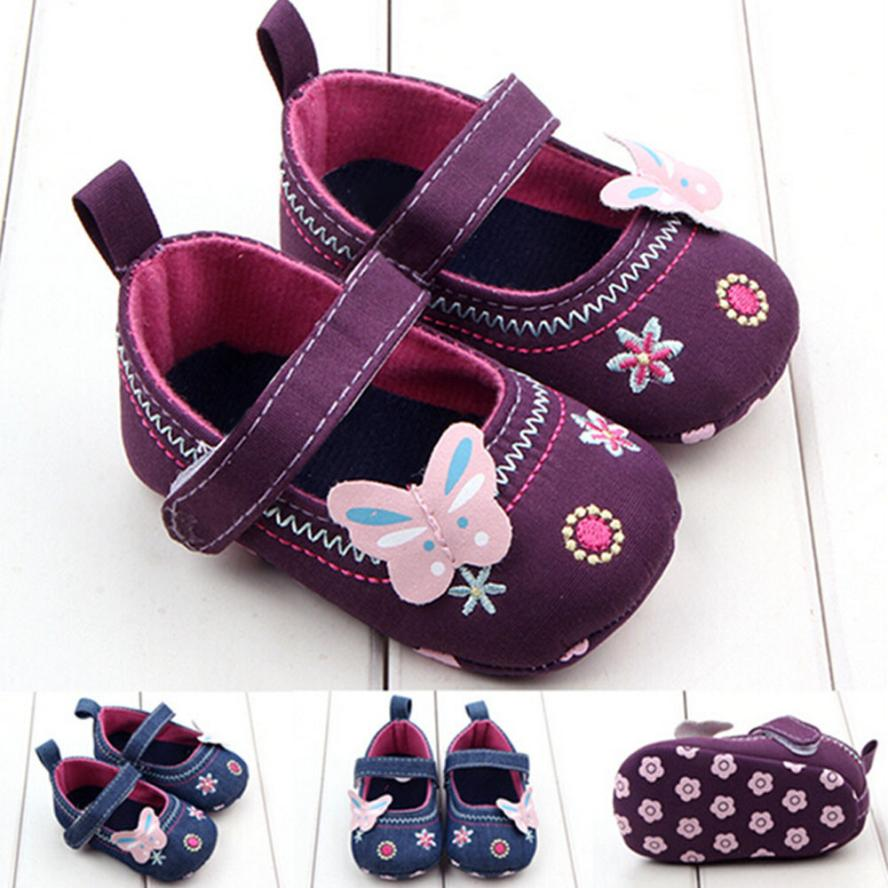 TELOTUNY 2018 baby GIRLS shoes Crib Shoes Fashion Baby GIRLS Shoes FLORL Butterfly Soft Sole Toddler Shoes UK A6 image