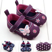 TELOTUNY 2018 baby GIRLS shoes Crib Shoes Fashion Baby GIRLS Shoes FLORL Butterfly Soft Sole Toddler Shoes UK A6 cheap Canvas Shallow All seasons Hook Loop floral COTTON Fits true to size take your normal size baby shoes HOOK LOOP shoes kids baby girls