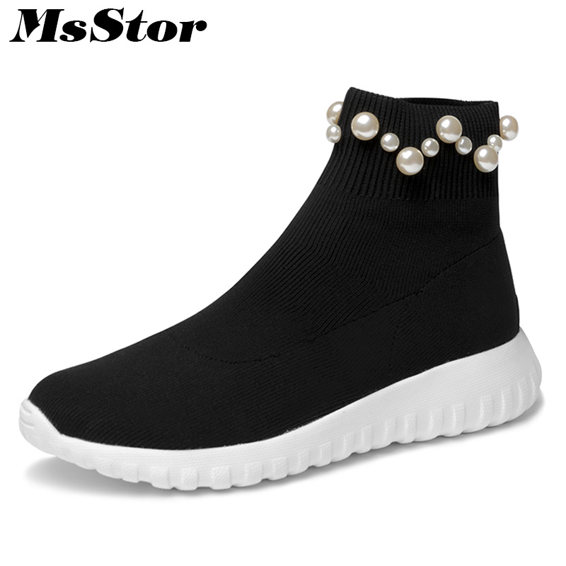 MsStor Round Toe Platform Women Flats Casual Fashion Ladies Flat Shoes 2018 New Spring Pearl Knitting Women Brand Flat Shoes women flat platform loafers shoes 2018 new brand women leather casual platform shoes for ladies new fashion flats shoes women