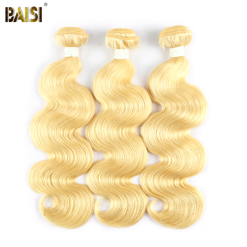 BAISI Hair Brazilian Body Wave Hair Extensions 613 Blonde Hair Weave 3 Bundles 100 Virgin Human