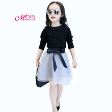 2018 Spring Autumn Fashion Girls Clothes Outfits Sets Long Sleeve T-shirt + Skirt Suits 2 Piece Girls Clothing 4 6 8 10 12 Years стоимость