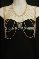 FREE SHIPPING 2014 New Women Gold OR Silver Chains Full Shoulders Wide Necklace Fashion Trendy Jewelry