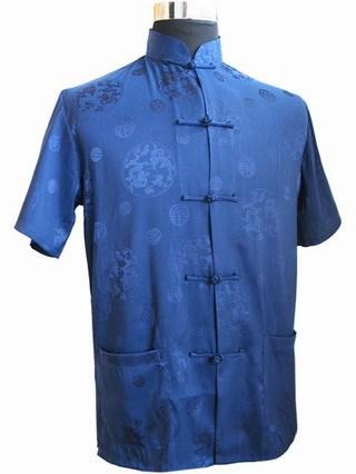 Azul Tendência Nacional Chinesa dos homens Camisa De Cetim Clássico Botão de Camisa Top Kung Fu Camisa Com Bolso S A XXXL MS008